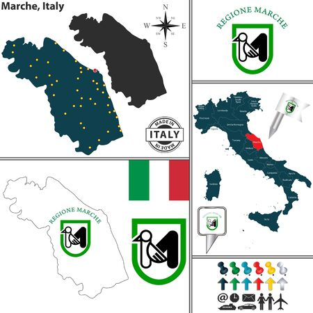 region: Vector map of region Marche with coat of arms and location on Italy map Illustration