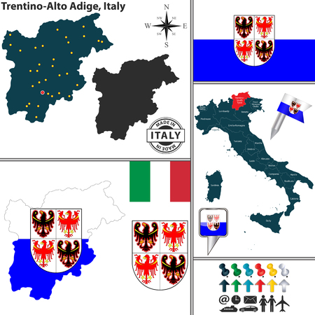 tyrol: Vector map of region Trentino-Alto Adige with coat of arms and location on Italy map Illustration