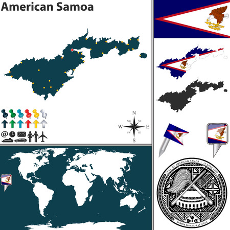 Vector map of American Samoa with coat of arms and location on world map Illustration