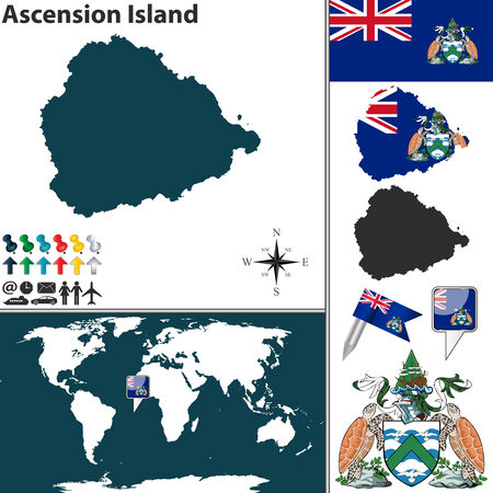 territories: Vector map of Ascension Island with coat of arms and location on world map Illustration