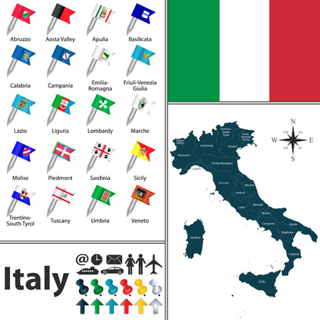 emilia romagna: Vector map of Italy with regions with flags
