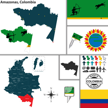 amazonas: Vector map of region of Amazonas with coat of arms and location on Colombian map