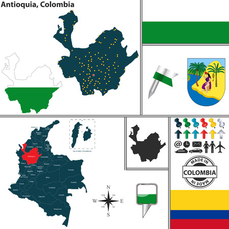 Vector map of region of Antioquia with coat of arms and location on Colombian map Illustration