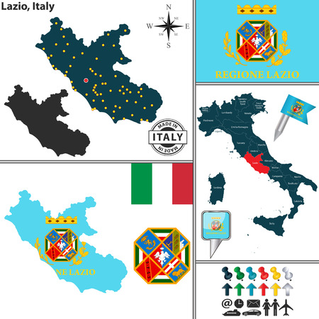 lazio: Vector map of region Lazio with coat of arms and location on Italy map