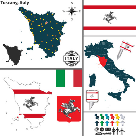 tuscan: Vector map of region Tuscany with coat of arms and location on Italy map Illustration