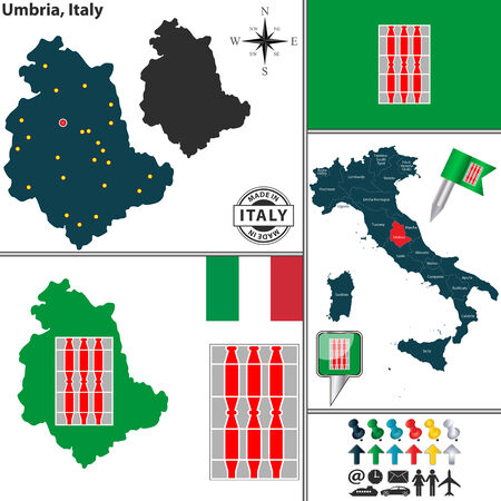 Vector map of region Umbria with coat of arms and location on Italy map