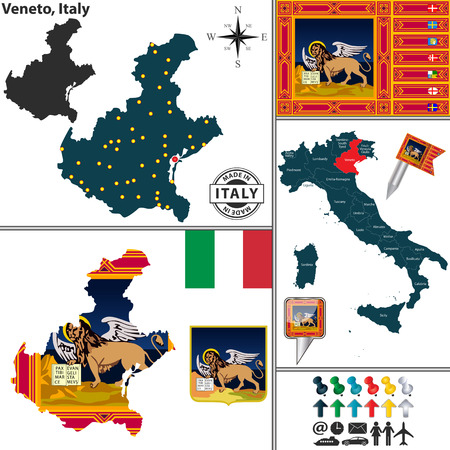 region: Vector map of region Veneto with coat of arms and location on Italy map Illustration