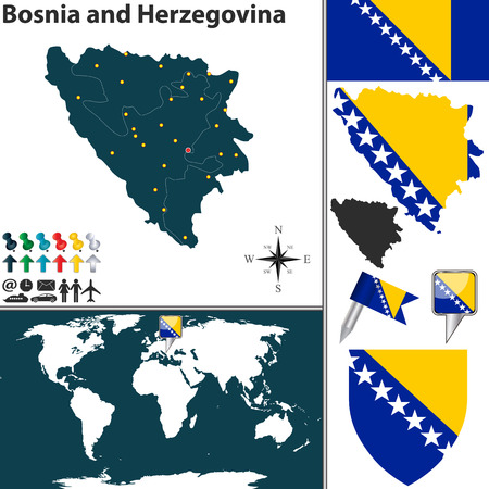 bosnia and  herzegovina: Vector map of Bosnia and Herzegovina with regions, coat of arms and location on world map