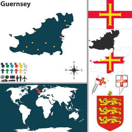 bailiwick: map of Guernsey island with coat of arms and location on world map