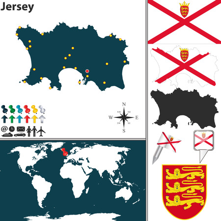 jersey: map of Jersey island with coat of arms and location on world map Illustration