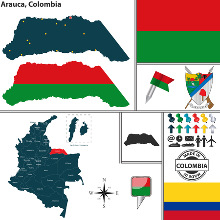 colombian: map of region of Arauca with coat of arms and location on Colombian map Illustration
