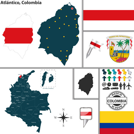 colombian: map of region of Atlantico with coat of arms and location on Colombian map