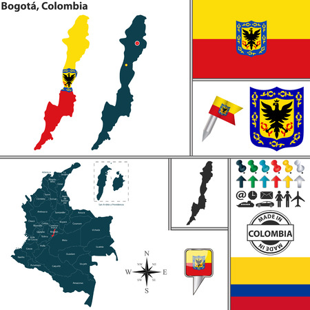 colombian: map of region of Bogota with coat of arms and location on Colombian map Illustration