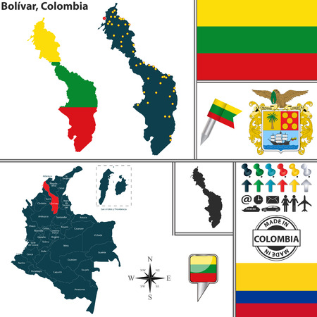 colombian: Vector map of region of Bolivar with coat of arms and location on Colombian map
