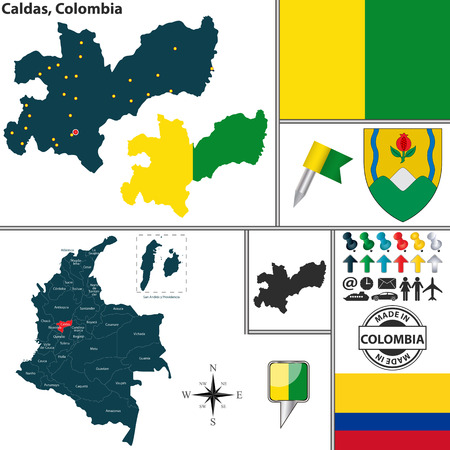 Vector map of region of Caldas with coat of arms and location on Colombian map