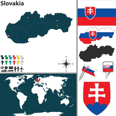 map of Slovakia with regions, coat of arms and location on world map