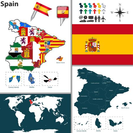 leon: map of Spain with regions with flags Illustration