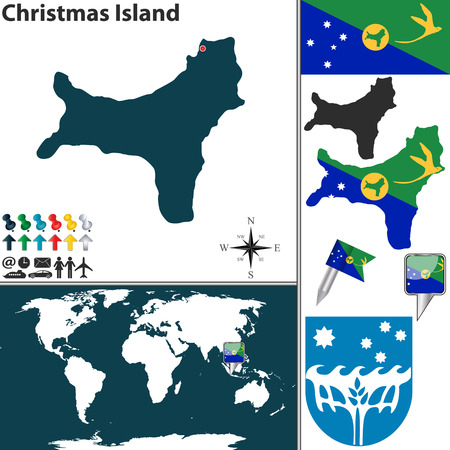 divisions: Vector of map of Christmas Island set with flags and icons