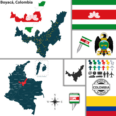 region: Vector map of region of Boyaca with coat of arms and location on Colombian map Illustration