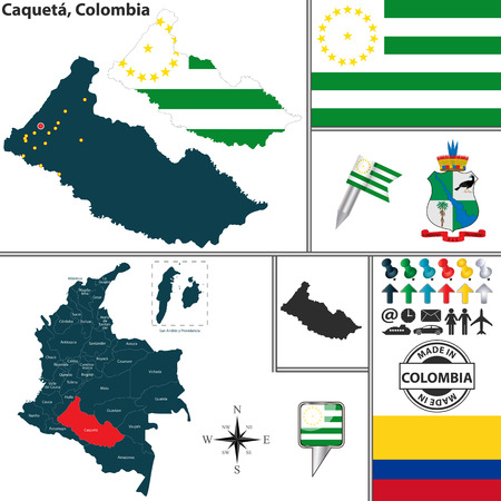 colombian: Vector map of region of Caqueta with coat of arms and location on Colombian map