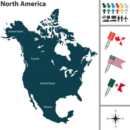 北アメリカのフラグ、世界地図上の位置のベクトル マップ