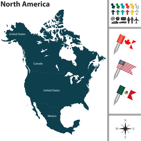 north america: Vector map of North America with flags and location on world map Illustration