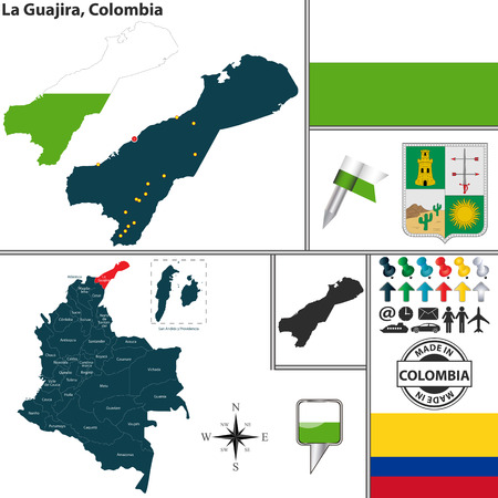 colombian: Vector map of region of La Guajira with coat of arms and location on Colombian map Illustration