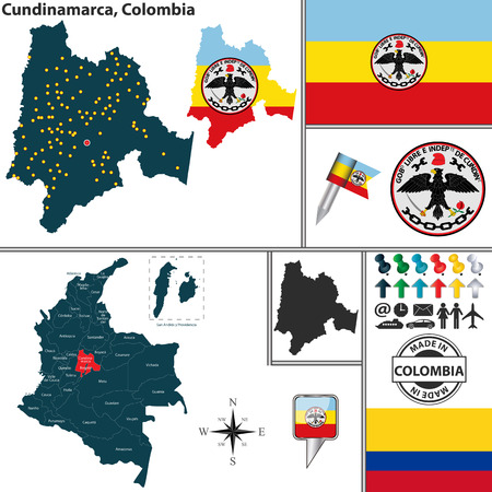 Vector map of region of Cundinamarca with coat of arms and location on Colombian map