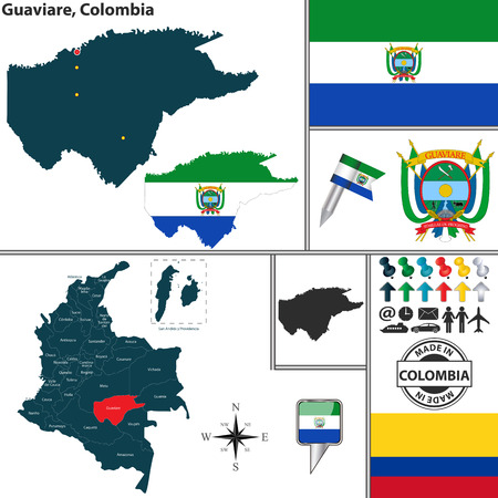 Vector map of region of Guaviare with coat of arms and location on Colombian map Illustration