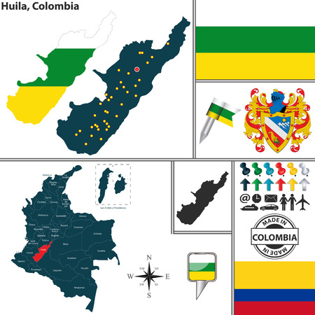 huila: Vector map of region of Huila with coat of arms and location on Colombian map