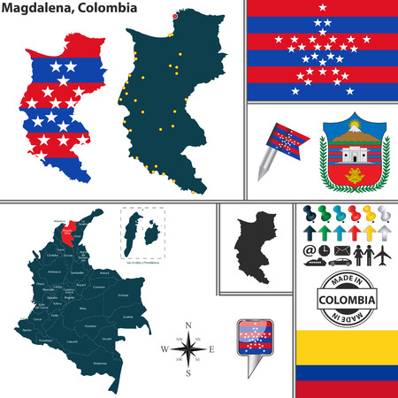 colombian: Vector map of region of Magdalena with coat of arms and location on Colombian map