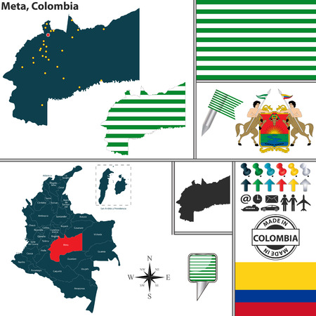 Vector map of region of Meta with coat of arms and location on Colombian map Illustration