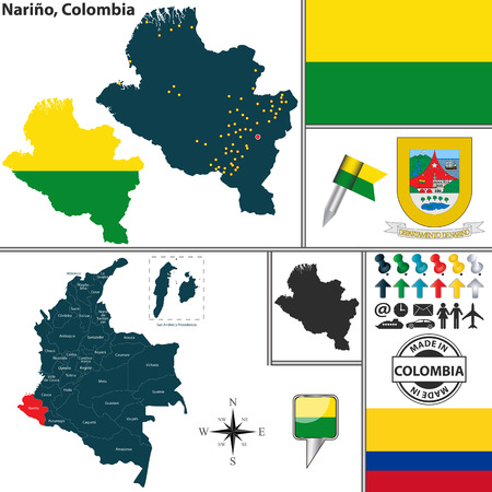 colombian: Vector map of region of Narino with coat of arms and location on Colombian map