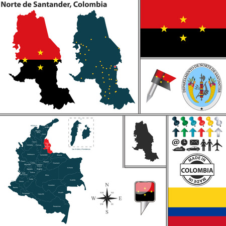 Vector map of region of Norte de Santander with coat of arms and location on Colombian map