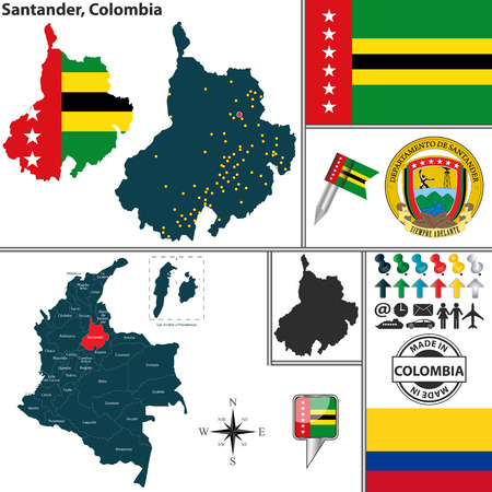 santander: Vector map of region of Santander with coat of arms and location on Colombian map Illustration