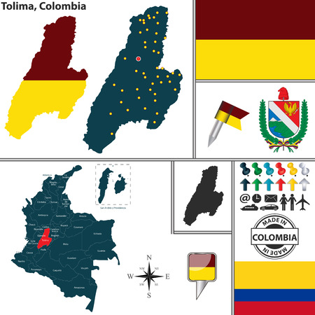Vector map of region of Tolima with coat of arms and location on Colombian map