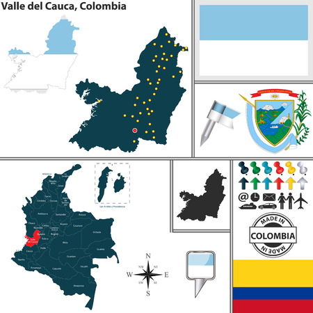 del: Vector map of region of Valle del Cauca with coat of arms and location on Colombian map