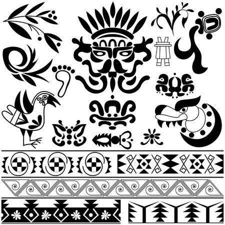 mesoamerican: Vector of set of ancient American ornaments on white