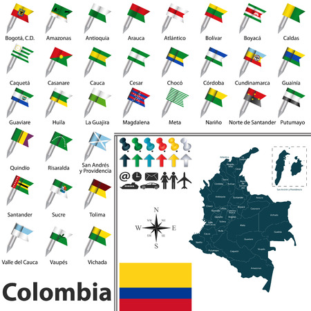 meta: Vector map of Colombia with regions and flags Illustration