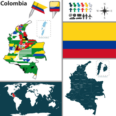 Vector map of Colombia with regions and flags Illustration