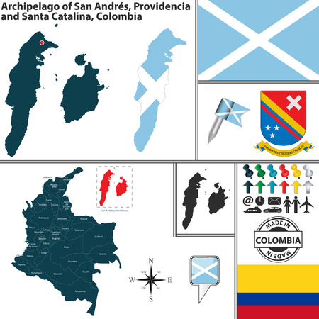 archipelago: Vector map of region of Archipelago of San Andres, Providencia and Santa Catalina with coat of arms and location on Colombian map Illustration
