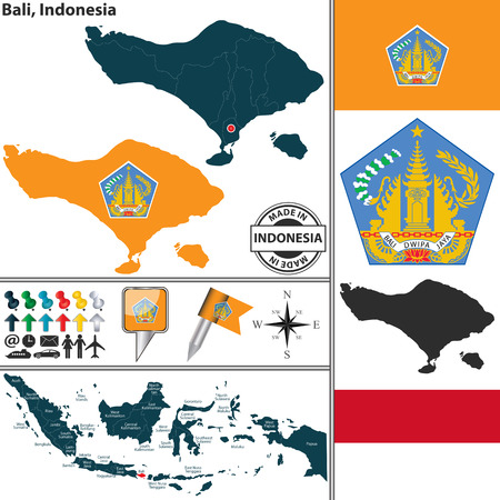 bali province: Vector map of region Bali with coat of arms and location on Indonesian map Illustration
