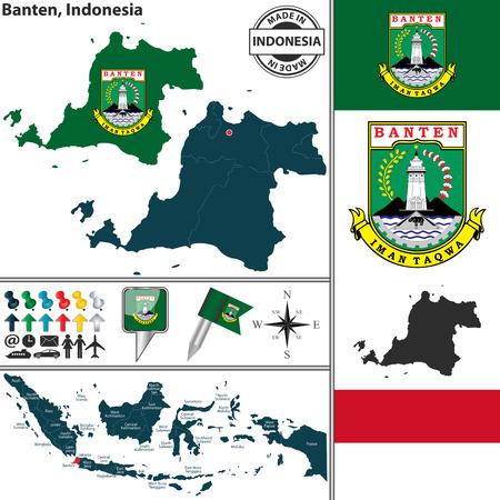 indonesisch: Vector kaart van de regio Banten met wapenschild en de locatie op de Indonesische kaart