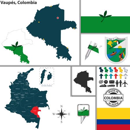 territories: Vector map of region of Vaupes with coat of arms and location on Colombian map
