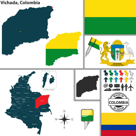 colombian: Vector map of region of Vichada with coat of arms and location on Colombian map