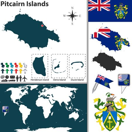 pitcairn: Vector map of Pitcairn Islands with coat of arms and location on world map