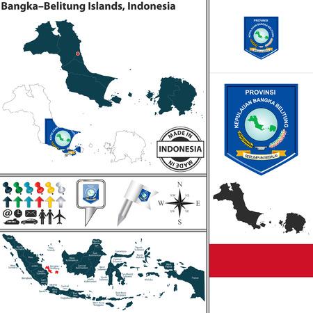 indonesisch: Vector kaart van de regio Bangka Belitung Islands met wapenschild en de locatie op de Indonesische kaart Stock Illustratie