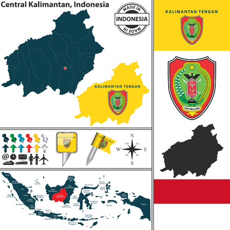 indonesian: Vector map of region Central Kalimantan with coat of arms and location on Indonesian map
