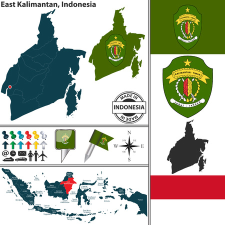 indonesian: Vector map of region East Kalimantan with coat of arms and location on Indonesian map