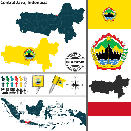 java: Vector map of region Central Java with coat of arms and location on Indonesian map Illustration
